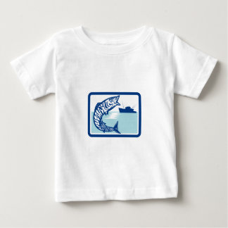 Wahoo Fish Jumping Fishing Boat Rectangle Retro Baby T-Shirt