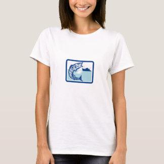 Wahoo Fish Jumping Fishing Boat Rectangle Retro T-Shirt