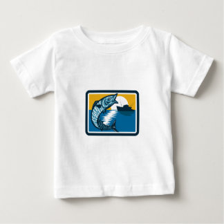 Wahoo Fish Jumping Fishing Boat Square Retro Baby T-Shirt