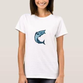 Wahoo Fish Jumping Isolated Retro T-Shirt