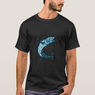 Wahoo Fish Jumping Isolated Retro T-Shirt