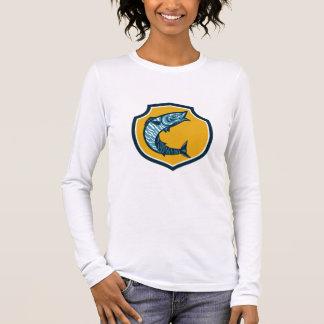 Wahoo Fish Jumping Shield Retro Long Sleeve T-Shirt