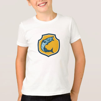 Wahoo Fish Jumping Shield Retro T-Shirt