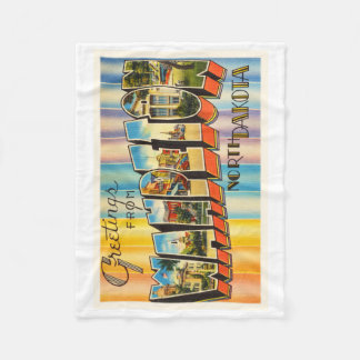 Wahpeton North Dakota ND Vintage Travel Souvenir Fleece Blanket