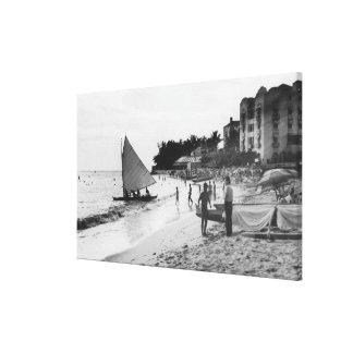 Waikiki Beach and Boats Honolulu Stretched Canvas Print