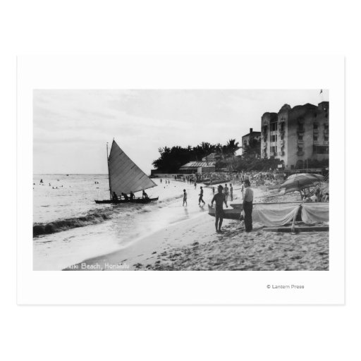 Waikiki Beach and Boats Honolulu Post Card