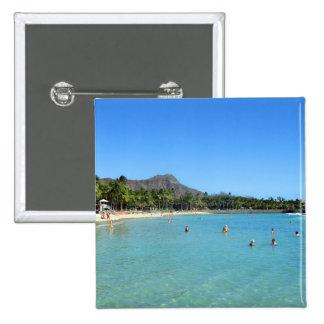 Waikiki Beach and Diamond Head Crater Hawaii Button