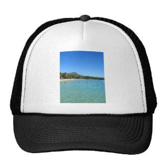 Waikiki Beach and Diamond Head Crater, Hawaii Trucker Hats