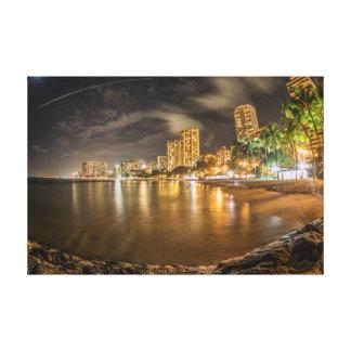 Waikiki Beach at Night Canvas Prints