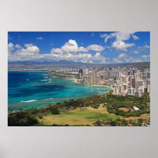 Waikiki Beach from Diamond Head Poster