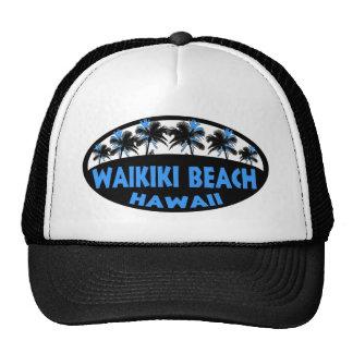 Waikiki Beach Hawaii blue black palms Hat