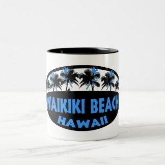 Waikiki Beach Hawaii blue black palms Mugs
