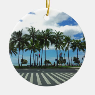 Waikiki Beach Hawaii Round Ceramic Ornament