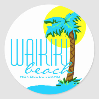 Waikiki Beach- Honolulu Classic Round Sticker