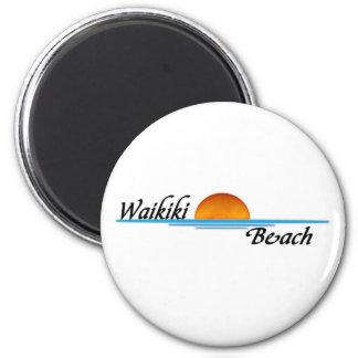 Waikiki Beach 2 Inch Round Magnet