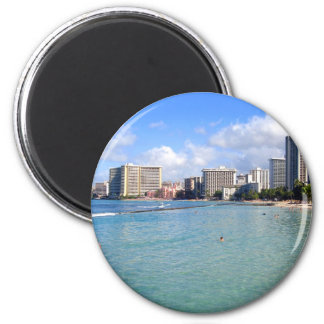 Waikiki Beach, Oahu, Hawaii 2 Inch Round Magnet
