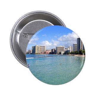 Waikiki Beach Oahu Hawaii Pinback Button