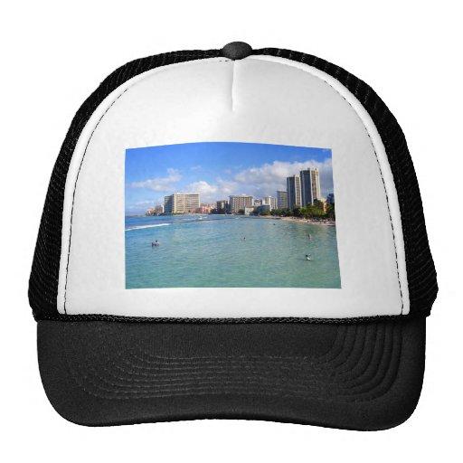 Waikiki Beach, Oahu, Hawaii Mesh Hat