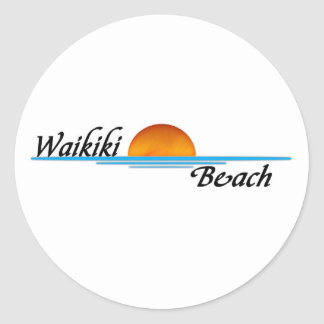 Waikiki Beach Round Sticker