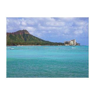 Waikiki Beach Stretched Canvas Print