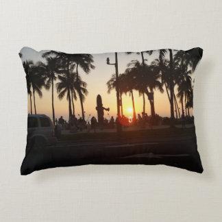 Waikiki Beach Sunset Accent Pillow