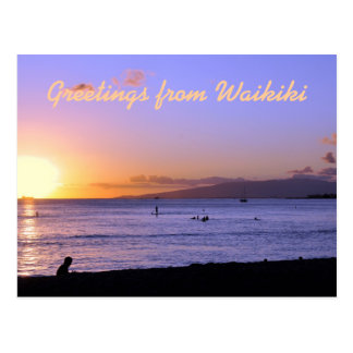 Waikiki Beach Sunset Postcard