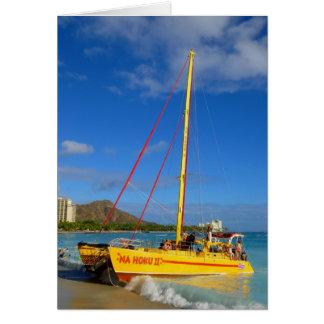 Waikiki Catamaran Greeting Card