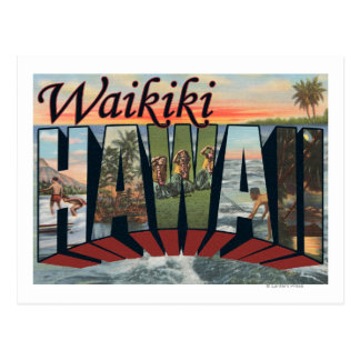 Waikiki, Hawaii - Large Letter Scenes Postcard