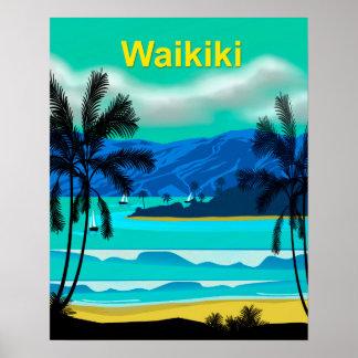 Waikiki Hawaii Travel Poster