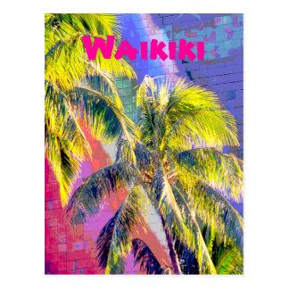 Waikiki Palm Tree Color Postcard