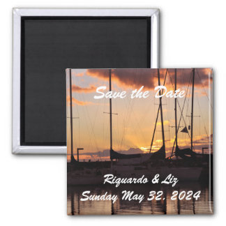 Waikiki Sunset Harbor Save the Date Wedding Magnet