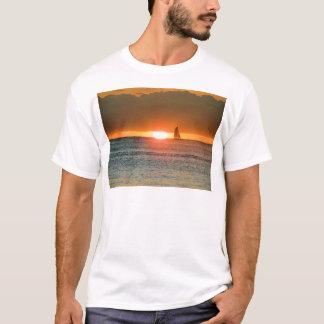 Waikiki Sunset with Sailboat Silhouette, Hawaii T-Shirt