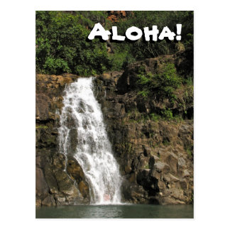 Waimea Audubon Waterfall from Hawaii Postcard