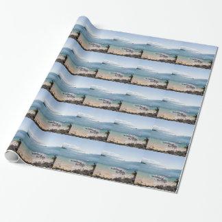 waimea bay panorama wrapping paper