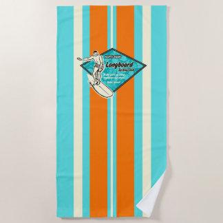 Waimea Striped Surfboard Hawaiian Surfer - Aqua Beach Towel