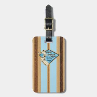 Waimea Surfboard Hawaiian Striped Faux Wood Luggage Tag