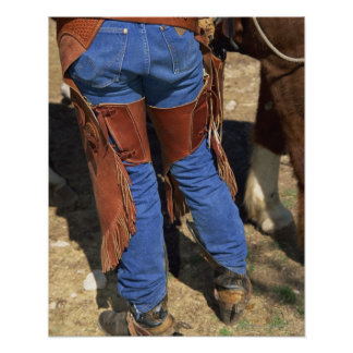 Waist down view of cowboy poster