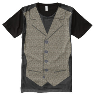 Waistcoat Image In Grey/Brown Tweed Cloth Texture All-Over-Print T-Shirt