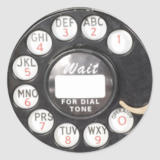 Wait For Dial Tone Classic Round Sticker