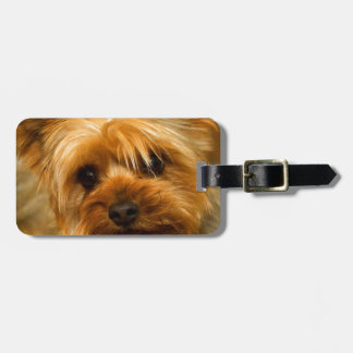 Wait for mom love Yorkie Terrier dog Luggage Tag