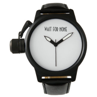 Wait for None black leather watch for men