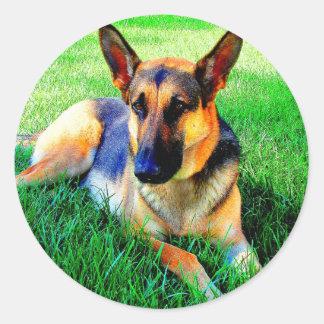 Wait for you love german shepherd round sticker