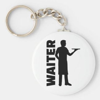 Waiter Basic Round Button Keychain