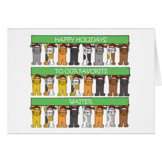 Waiter Happy Holidays Card