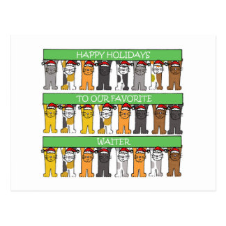 Waiter Happy Holidays Postcard