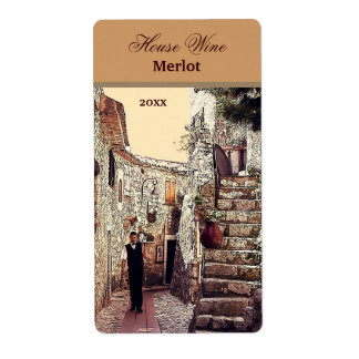 waiter in an old town wine label