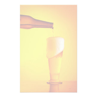 Waiter pouring beer, glass of a cold drink custom stationery