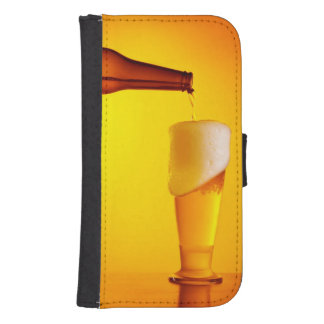 Waiter pouring beer, glass of a cold drink galaxy s4 wallet case