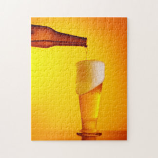 Waiter pouring beer, glass of a cold drink puzzle