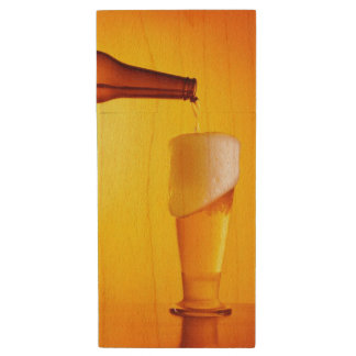 Waiter pouring beer, glass of a cold drink wood USB 2.0 flash drive